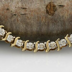 10k Yellow Gold Estate Diamond Tennis Bracelet 7 12