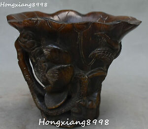 China Oxhorn Ox Horn Lotus Flower Cup Case Mug Calix Tumbler Chalice Winebowl
