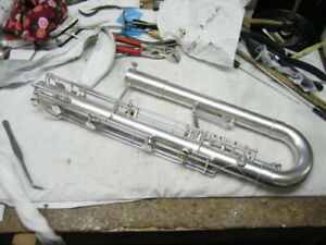 G. Leblanc model 340 BBb silver-plated paperclip CONTRABASS clarinet wNEW PADS