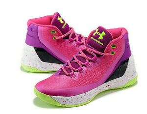 New Under Armour Stephen Curry 3 GS Pink Basketball Shoes Girls Sz 12