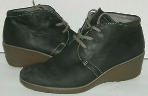 ECCO Cram Black Brushed Leather Wedge Lace up Ankle Boots Size 38 EU 8 US