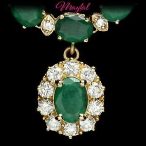 $48700 CERTIFIED 14K YELLOW GOLD 24.25CT EMERALD 2.00CT DIAMOND NECKLACE