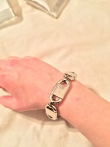 NEW $150 DOLCE & GABBANA Bracelet Silver Lock & Chain Statement