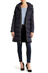 MICHAEL KORS Shevron Quilted Packable Hooded Down Puffer Jacket Coat S Navy