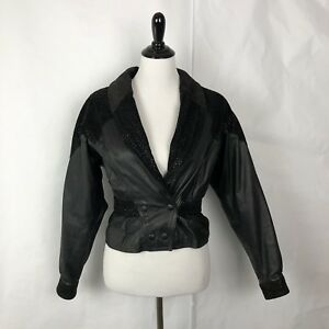 VTG Chia Black Leather Jacket Motorcycle Biker Cropped 90's Women Size S