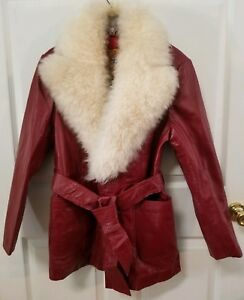 VINTAGE ALEXCIDA WESTERN AMEREX RED LEATHER LADIES JACKET SIZE  L
