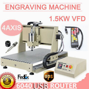 4Axis 6040 Router 1500W VFD Engraver Milling Drilling Machine 3D Cutter ER11 USA
