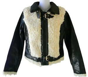 Baby Phat Women Crinkle Faux Leather and Shearling Jacket Sz. S Black Motorcycle