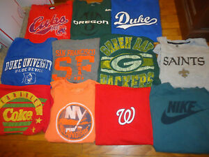 Pop Culture Graphic T-Shirt Lot 55 Mens Large and XL Sports Nike College Vintage