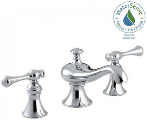 Bathroom Faucet Widespread 2-Handle 8 in. Low-Arc Polished Chrome