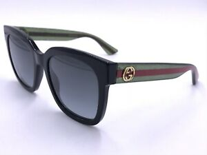 GUCCI DESIGNER GG0034S 002 BLACK GREEN RED SQUARE AUTHENTIC ITALY 54-20 140