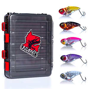 Premium Fishing Lures for Bass 6pc Ultra Lure kit with Double Sided Tackle Box