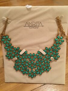 Amrita Singh Bib Necklace Statement NWT Turquoise Flower