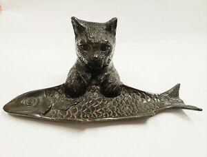 VINTAGE BRONZE BRASS CAST METAL CAT FISH CARD HOLDER JEWLERY TRINKET CANDY TRAY