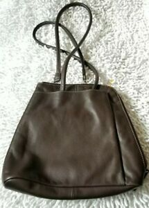 Clarks Brown Leather convertible backpack Purse Exterior Zip Pocket EUC