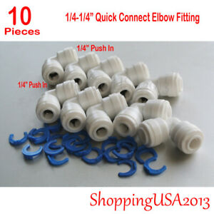 10 Pcs Quick Connect Elbow Fitting Connector Push In Ro Water Filter System