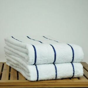 Beach Towel Set of 2 Turkish Cotton Thin Stripe 4 Colors 35x65 Spa Pool Towels