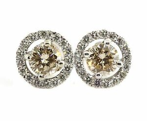 1.76 CT Natural round cut diamond stud earrings SI1chocolate 14K white gold