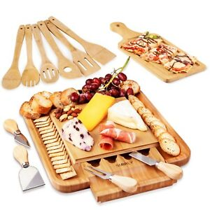 Cheese Board amp; Cutlery Set with Slide Out Drawer 100% Natural Bamboo *US SELLER*