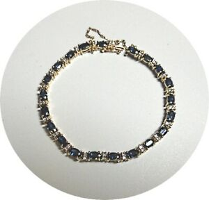 "14k SAPPHIRE & DIAMOND Tennis Bracelet - 6.25"" Length - Yellow Gold Mtg."