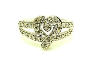 10k White Gold .25 Carat Diamond Heart Promise Love Sweetheart Ring Size 7