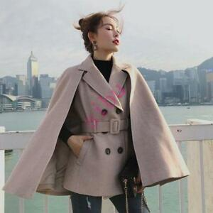 100% Wool Cape Coat Real Womens Short Double Breasted Belt Slim Overcoat Chic OL