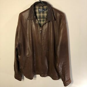 Men's GC Polo Ralph Lauren Brown Leather Jacket Sz Large Zip Up Strap Collar