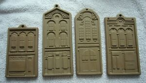 RARE COMPLETE SET 4 HARTSTONE COOKIE MOLDS -SWEET SHOP ENGINE BANK BOOK STORE