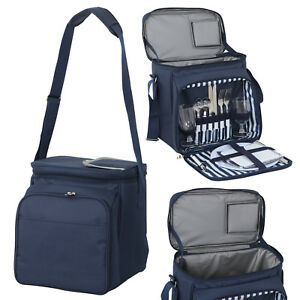 Insulated Picnic Basket Lunch Tote Cooler Bag w/ Flatware Two Place Setting