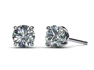 AMAZING 6.00 CT VS2 F ROUND DIAMOND EARRINGS PUSH BACK PLATINUM GIFT