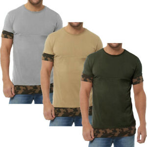 Long Line T-Shirt Camouflage Short Sleeve Long Line Tee Top  Mens Size