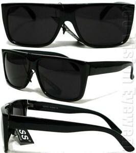 Gangster Flat Top Square Sunglasses OG LOC Style Super Dark Black K60SD