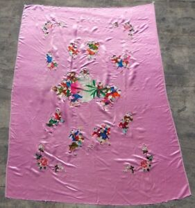 Antique Chinese Traditional Kids Play Hand Embroidered Silk Wedding Sheet (X715)
