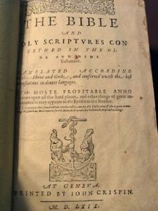 1569 GENEVA BIBLE 2ND ISSUE CRISPIN RARE YELLOW PAPER AMAZING ROYAL PROVENANCE