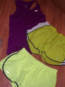 women NIKE Under Armour 3 shorts & 1 tank top ~ athletic running small  dri-fit