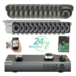 32Ch Network NVR DomeBullet 5MP PoE IP 3672IR ONVIF Security Camera System