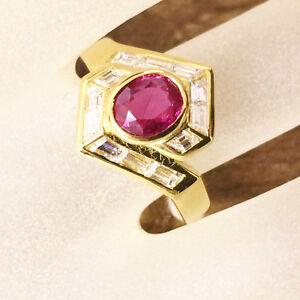 Baguette Diamonds TCW 0.60 Red Ruby 18k Gold Ring Bridal Birthday Christmas Gift