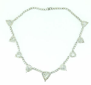 Necklace 190 Triangles Round Diamonds 34.92Ct 18k White Gold Bridal Engagement