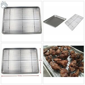 Checkered Chef Baking Sheet and Rack Set Aluminum Cookie SheetHalf Sheet Pan