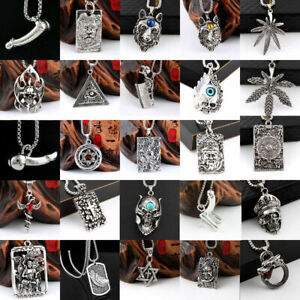 Fashion Men Stainless Pill Bullet Pendant Cremation Urn Leather Chain Necklace