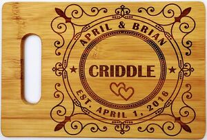 Cutting Board - Gift for Couples, Engraved Bamboo, Wedding Gift, Bride and Groom