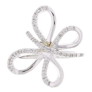 18k White Gold 13ctw Diamond Pave Butterfly Ring