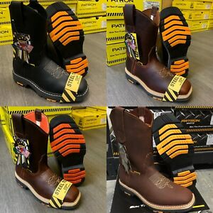 MEN#x27;S SQUARE STEEL TOE WORK BOOTS GENUINE SOFT LEATHER COWBOY PULL ON BOTAS