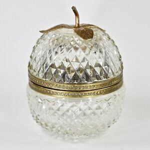 Antique Box in apple shape clear crystal cut in diamond pattern hinged lid $120.00