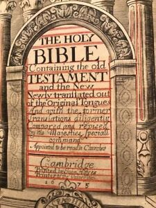 1675 King James Bible RARE Hayes 360 Steel Engravings and Fully Hand Red Lined