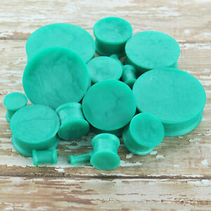1 Pair Pearl Teal Soft Silicone Flexible Ear Plugs Gauges