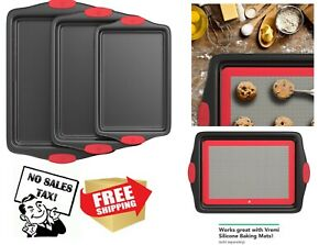 Baking Sheets Nonstick Pan Set for 3 Pieces Quarter and Half Sheet Carbon Steel