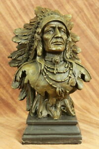 HUGE Indian Native American Art Chief Eagle Bust Bronze Marble Statue Sculpture