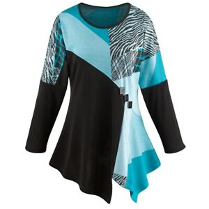 Women's Tunic Top - Turquoise Regal Long Sleeve Blouse