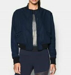 UNDER ARMOUR Bomber Jacket Cropped Storm Blue Black Loose 1294931 Womens M $200